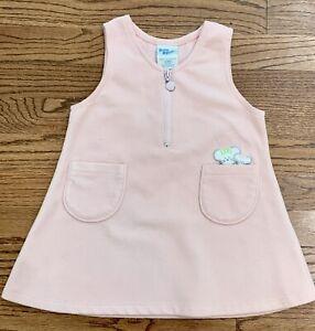 Vintage Osh Kosh Baby B'Gosh Pink Fleece Jumper Dress Pocket Mouse Sz 24m