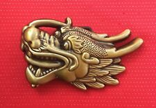 3D CHINESE DRAGON HEAD FANCY DRESS JEANS GOLD BELT BUCKLE