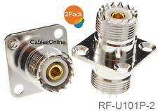 2-Pack UHF SO239 Female to Female 4-Hole Panel Mount Coupler, RF-U101P-2