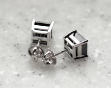 14K Solid White Gold Black Diamond Square Screw Back Stud Earrings 4 TCW
