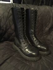 Black Ranger Steel Toe Cap Boots 14 Hole Knightsbridge Size 3 skinhead punk USED