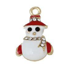 2 x Enamel & Rhinestone Snowman Gold Plated Christmas Pendant Charms Xmas