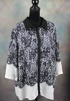 Cato Women's Blouse Size 22/24W Black & White Lace Print 3/4 Sleeve Button Down