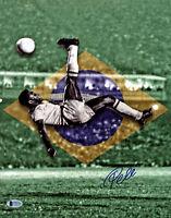 Pele Signed 11x14 Soccer Photo Bike Kick Brazil - Autographed BAS Beckett COA