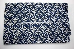 5 Yard Indian Blue Indigo Hand Block Print Cotton Fabric Dressmaking Sewing 1351