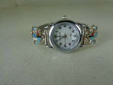 Watch Tips .925 Sterling Silver With Watch & Multi. Inlay Stones By Selina Jake