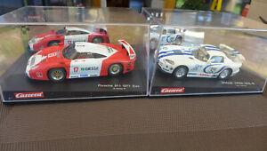 2 Carrera Slot Cars, Porsche 911 GT1 Evo + Dodge ViperGTS-R in OVP gebraucht