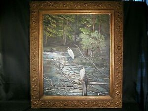 Pair of Egrets In South Carolina Low Country Primitive Oil Painting Signed