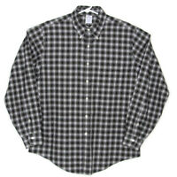 Brooks Brothers Mens Button Down Slim Fit Size Large Shirt Black White Plaid