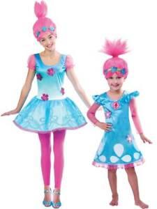 OFFICIAL UK Child Trolls Poppy Troll Fancy Dress Costume & Wig Kids Girls Outfit