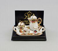 9911051 Reutter Puppenstuben-Miniatur Kaffeetablett schwarze Rose Porzellan
