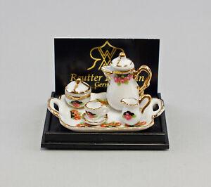 9911051 Reutter Miniatures Maison de Poupée Kaffeetablett Rose Noire Porcelaine