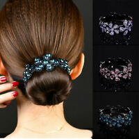 Gift Girls Hair Clip Comb Women Bun Holder Claw Hairpin Ponytail Crystal Fashion