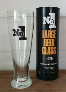 Vintage No1 Large Beer glass 1/2 L Crown Corning Australia AYLBt