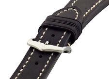 20mm Hirsch LIBERTY Black Artisan Leather Contrast Stitch Watch Band Strap