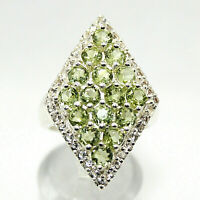 PERIDOT Marquise RING White Topaz Accents Genuine .925 Sterling Silver Sz 6