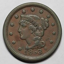 1853 N-25 E-MDS Braided Hair Large Cent Coin 1c