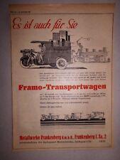 Orig. 1928 Motor & Sports Advertising Advertising Framo Frankenberg Tricycle Transport Cart