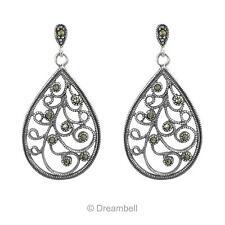 2x Sterling Silver Marcasite Teardrop Filigree Flower Charm Stud Earring Post