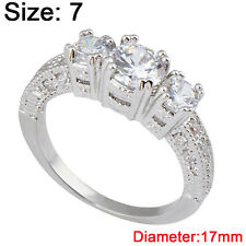 Size 6-9 White Sapphire Engagement Wedding Ring Silver Plate Crystal Rhinestone 7