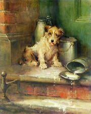 Wonderful Oil painting nice animals lovely dogs - Puppy eating milk on canvas
