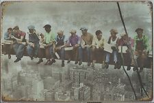"""Metal Tin Sign 30 x 20 cm """" Workers on Girder """" Wall Decoration Plaque"""