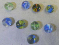 #13099m Vintage Group of 9 All Lines Cross Through Cat's Eye Marbles