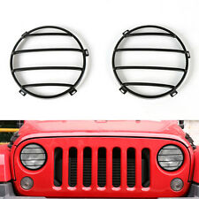 Fit Jeep Wrangler JK 07-2016 Front Headlights Protector Guards Cover Trim Metal