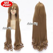 Toradora! Aisaka Taiga Long Flax Brown Curly Halloween Women Anime Cosplay Wig