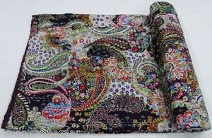 Indian Handmade Kantha Quilt Cotton Bedspread Throw Cotton Queen