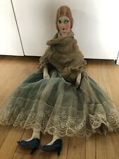"Antique 100 yr old Doll 33"" H Very Large Fabric Face Body Handsewn"