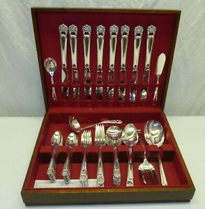 Vtg 1847 Rogers Eternally Yours 55 Piece Silver Plate Flatware Set for 8 w/ Case