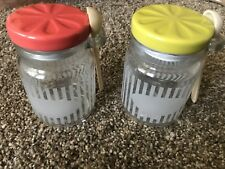 ANTHROPOLOGIE 2 Glass Canisters w/ spoon mason jar chalk label Red Green NEW
