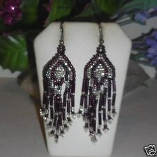 Purple and and white dangle bugle beaded earrings. Indian style design