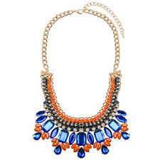 SALE Gold Statement Bib Necklace Jewel Bright Chunky Colourful   FREE POSTAGE