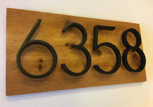 Modern House Number Sign - Floating House Numbers, Address Plaque, Cedar Wood