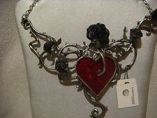 Alchemy Gothic pendant necklace in pewter bed of blood-roses