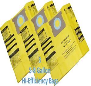 Shop Vac 5-8 GALLON High Efficiency Bags-3PK-Fits All Tank Sizes by Casa Vacuums