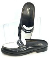 Bass Weejuns Mule Slides Women's Size 6 M Black White Leather Penny Loafer Shoes