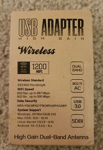 USB 3.0 WiFi Adapter High Gain AC1200 Dual Band 5.8G 867Mbps 2.4G 300Mbps