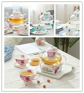 New Bone China Tea/Coffee Set with Pots and Cups Saucers House Warming Gift