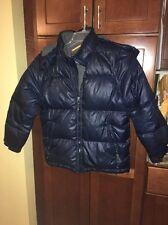 Gap Kids Boys Puffer Jacket Coat DOWN Navy Blue Warm Hood Zip Up Sz 10 Large
