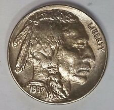 1937 D 5C Buffalo Nickel Indian Head Sharp AU/Unc Full Horn