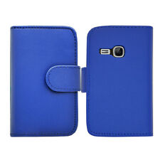 BLUE WALLET Leather Plain phone case Samsung Galaxy Young GT S-S6310L GT S6310N