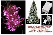SERIE 100 LUCI LED ROSA-FUCSIA-FUXSIA con CONTROLLER 7 GIOCHI LUCI ALBERO NATALE