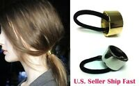 Pony Tail Metallic Silver & Gold Chic Hair Band Cuff Ponytail Holder Cute