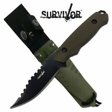 NEW! Survivor Army Green Fixed-Blade Full Tang Survival Knife w/ Hard Sheath