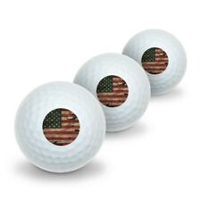 Rustic American Usa Flag Distressed Novelty Golf Balls 3 Pack