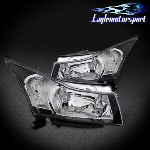 2010-2016 Chevrolet Cruze Black Factory Style Replacement Headlights Pair