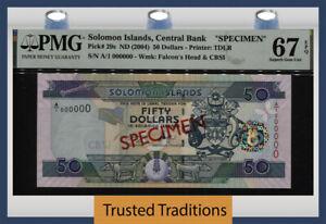 TT PK 29s ND (2004) SOLOMON ISLANDS 50 DOLLARS SPECIMEN PMG 67 EPQ SUPERB GEM!